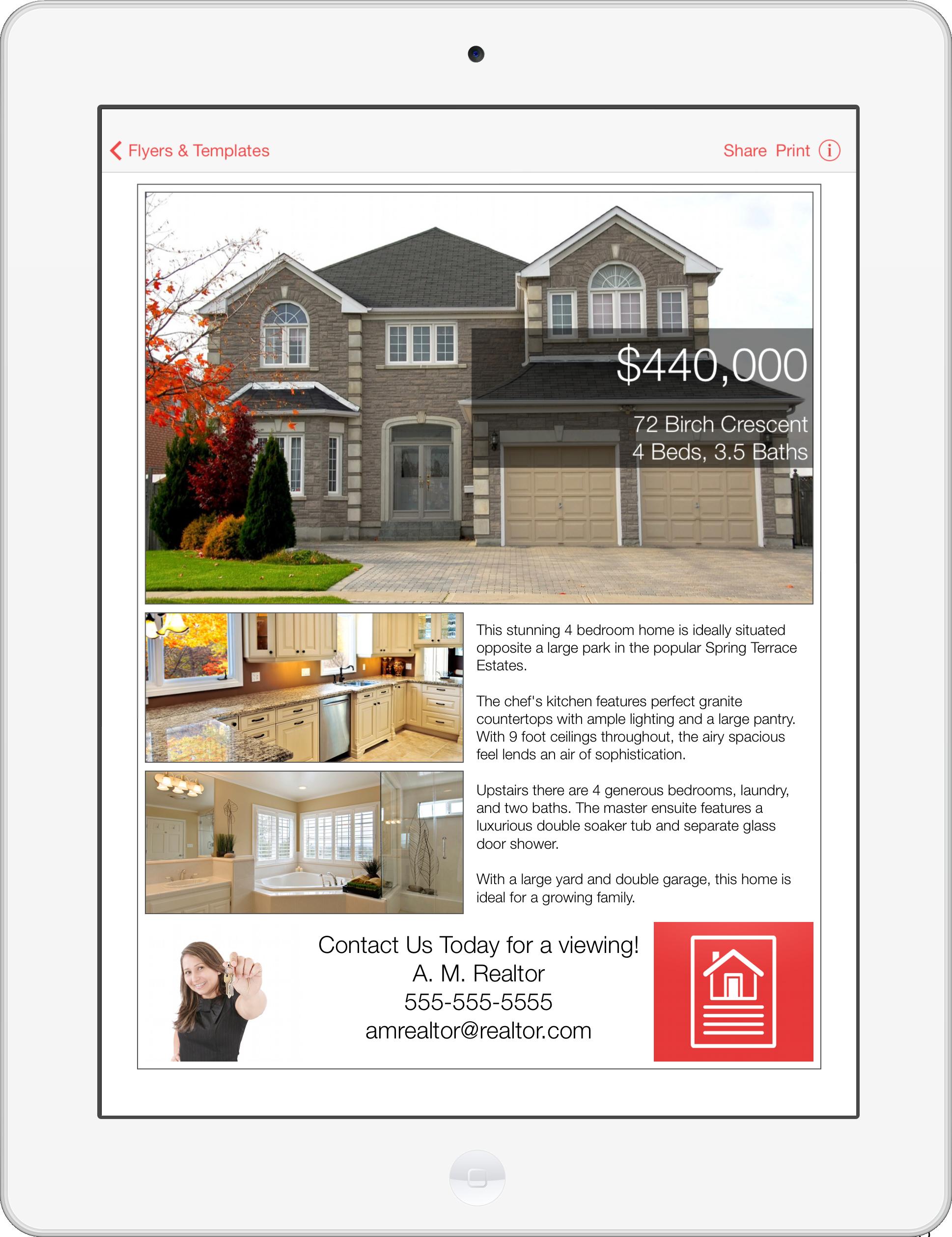 mobile lancing numbers breeze real estate flyer maker ipad